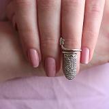 Серебряное кольцо на фалангу Ноготок с фианитами