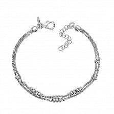 Двухслойный серебряный браслет в плетении Попкорн 000131687
