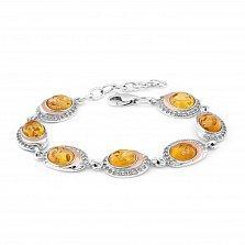 Серебряный браслет Патрисия с золотыми накладками, янтарем, цирконием и родием