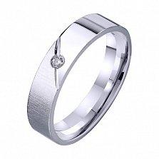 Обручальное кольцо из белого золота Amor Vincit Omnia с фианитом
