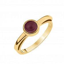 Золотое кольцо Аделаида с завальцованным рубином