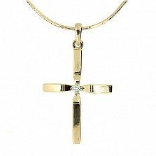 Золотой декоративный крестик с бриллиантом Фидес