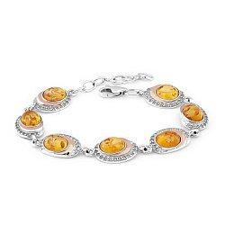 Серебряный браслет с золотыми накладками, янтарем, цирконием и родием 000087671