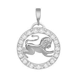 Серебряный подвес с кристаллами циркония Лев