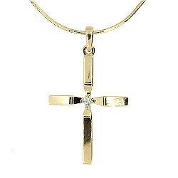 Золотой декоративный крестик с бриллиантом 000021673