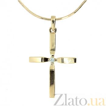 Золотой декоративный крестик с бриллиантом Фидес ZMX--PD-6769_K