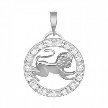 Срібний підвіс з кристалами цирконію Лев 000025315