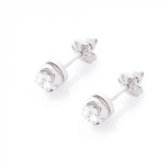 Серебряные серьги-пуссеты Ия с цирконием 000080170