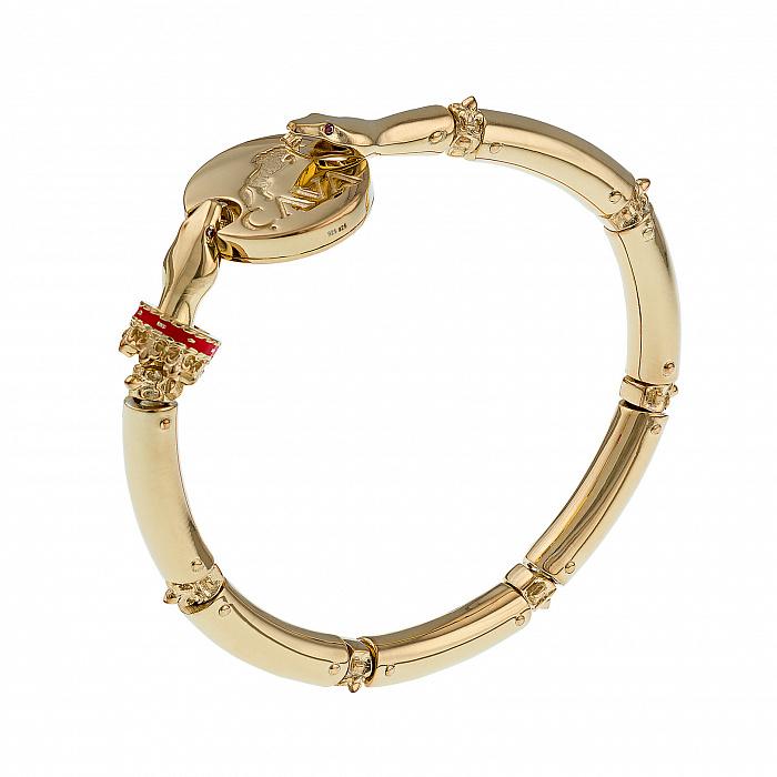 Серебряный браслет Мудрость змеи с краным корундом и позолотой 000072773