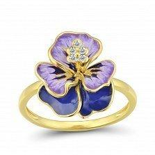 Золотое кольцо Ирис в желтом цвете с сапфирами и эмалью