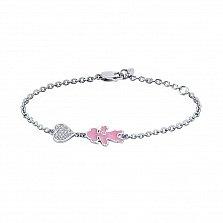 Серебряный браслет Девочка с фианитами и розовой эмалью