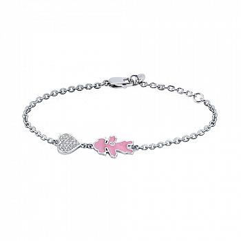 Серебряный браслет Девочка с фианитами и розовой эмалью 000072406