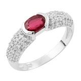 Серебряное кольцо Радия с рубином и фианитами