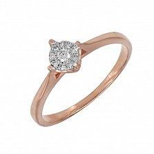 Кольцо из красного золота Любимый цветок с бриллиантами