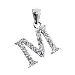 Серебряная подвеска Буква М с фианитами 000132508
