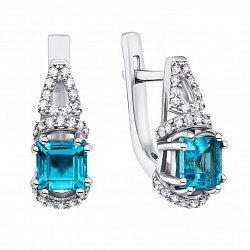 Серебряные серьги с голубым кварцем и фианитами 000136454