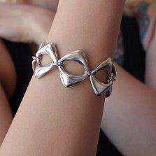 Серебряный браслет Ромбина с крупными литыми звеньями