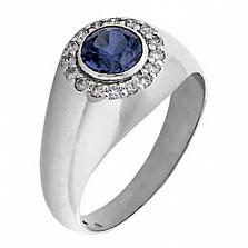 Мужское кольцо из белого золота с сапфиром и бриллиантами Сатурн