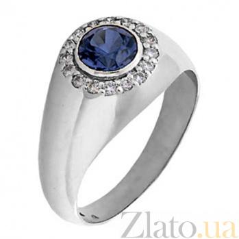 Мужское кольцо из белого золота с сапфиром и бриллиантами Сатурн KBL--К1564/бел/сапф