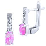 Серьги из серебра Фаиза с розовым опалом и фианитами