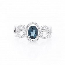 Серебряное кольцо Делия с топазом и фианитами