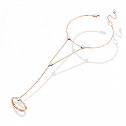 Золотой браслет-слейв Клеменсия в комбинированном цвете с фианитами