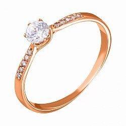 Золотое кольцо в красном цвете с фианитами 000047681