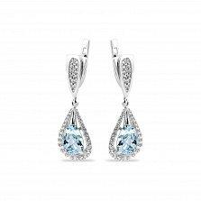 Серебряные серьги-подвески Полианна с голубыми алпанитами и белыми фианитами