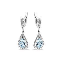 Серебряные серьги-подвески с голубыми алпанитами и белыми фианитами 000115445
