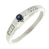 Серебряное кольцо Аннализа с сапфиром и бриллиантами