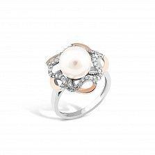 Серебряное кольцо Моретта с золотыми накладками, имитацией жемчуга и фианитами