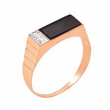 Золотой перстень-печатка Пуаро с черным ониксом и фианитами