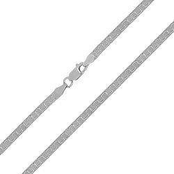 Серебряная цепь с геометрическим узором родированная, 5 мм 000027787