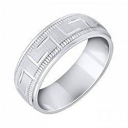 Серебряное обручальное кольцо с фактурной поверхностью и элементами орнамента 000093715