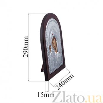 Серебряная икона Божьей Матери с красными фианитами AQA--MA/E1106A
