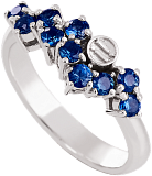 Золотое кольцо в белом цвете с сапфирами Watch me