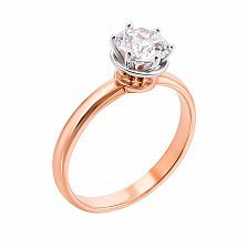 Золотое помолвочное кольцо Сильвия в комбинированном цвете с цирконием