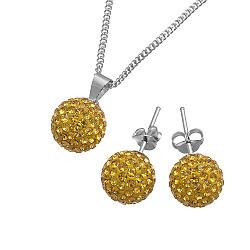 Ювелирный серебряный набор Фортуна с кристаллами Swarovski цвета шампань
