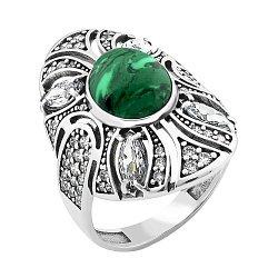 Серебряное кольцо с имитацией малахита и фианитами 000098416