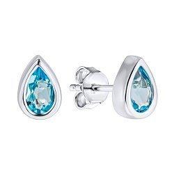 Серебряные серьги-пуссеты с голубыми топазами 000133461