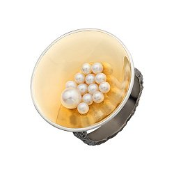 Серебряный перстень с жемчугом, покрытый чернением и позолотой 000055020