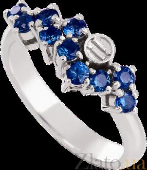 Золотое кольцо в белом цвете с сапфирами Watch me 000029440