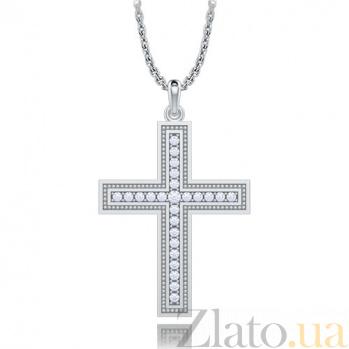 Крестик из белого золота с бриллиантами Тайна: Бесконечность 6983