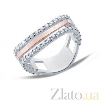 Серебряное кольцо с золотой пластиной Бритни AQA--179К Цр