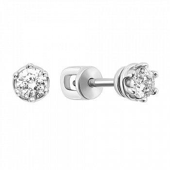 Серебряные серьги-пуссеты с фианитами 000119588