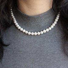Жемчужное ожерелье Вечная классика с серебряной застежкой и бусинами 8мм