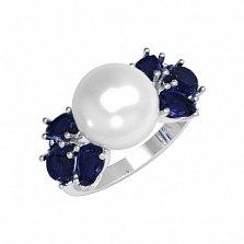 Серебряное кольцо Ксена с синтезированным сапфиром и жемчугом