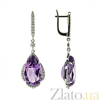 Золотые серьги с бриллиантами и аметистами Laura ZMX--EDAm-0040\1w_K