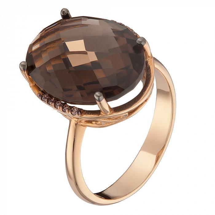 Кольцо в красном золоте Аманда с раухтопазом и фианитами 000079574