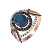 Золотое кольцо Пируэт с нано лондон топазом и фианитами
